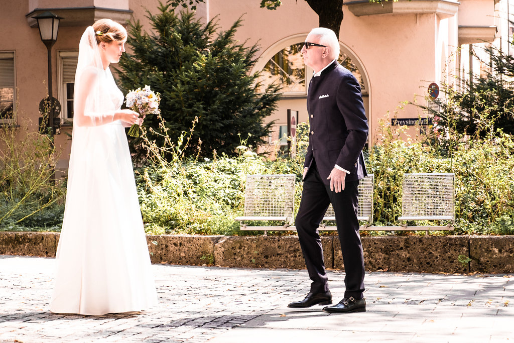 A bride and her father